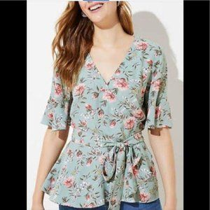 Loft Plus Green Floral Wrap Top, NWT, Size 16